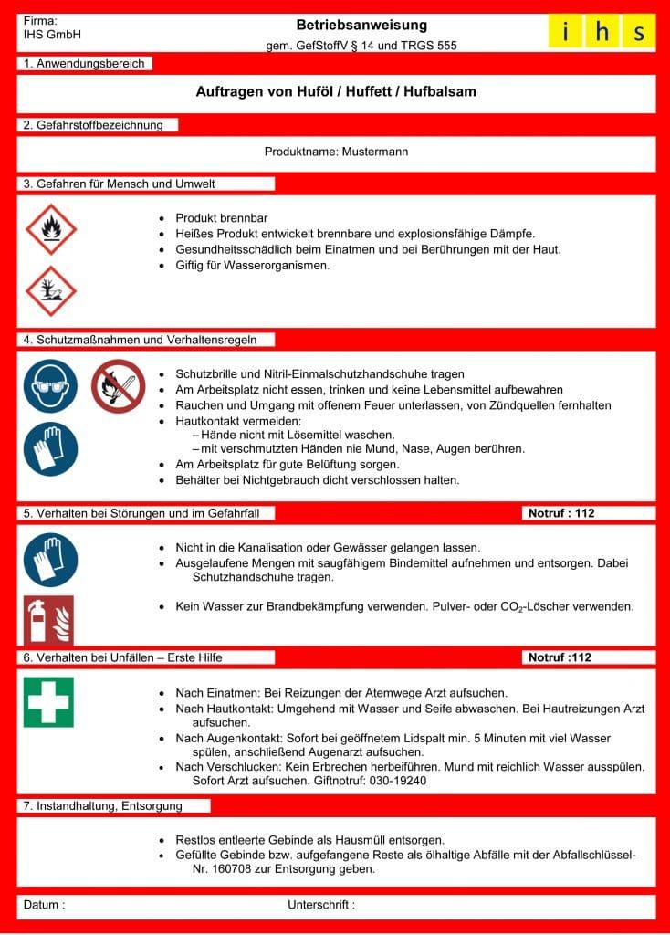 Betriebsanweisung Gefahrstoffe50